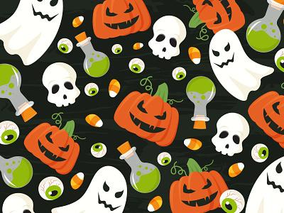 Halloween pattern horror scary skeleton skull eye candy pumpkin ghost halloween illustration