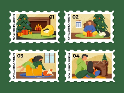 christmas stamp boy character girl decorations illumination romantic couple present cozy cat fireplace tree new year holiday stamps christmas card christmas illustration
