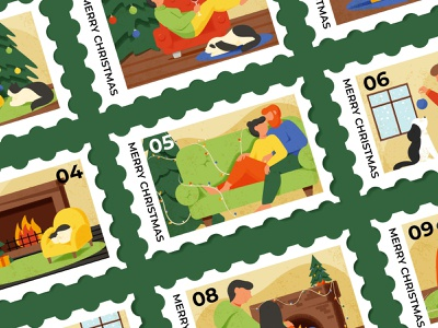 Christmas stamp winter character boy girl illumination decorations fire cat dog pat stamps christmas tree fireplace couple cozy holiday christmas stamp
