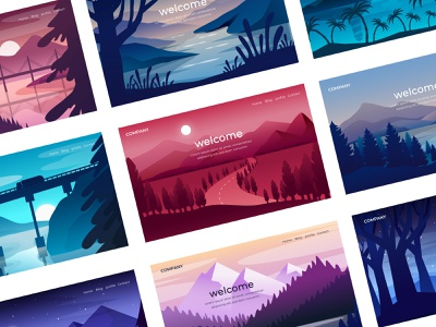 Landscape illustrations for welcome page night bridge palms mountain sea lake trip road sunrise sunset tree wild nature landscape welcome page travel illustration