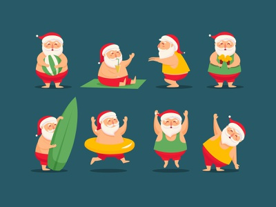 Santa characters winter surfing resting icecream beach sport workout vaction summer presents new year santa christmas holiday character