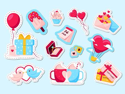 Valentine day stickers valentine day locker cupcake birds ice cream gift gift card couple cups present balloon hear ring calendar love valentine sticker color illustration