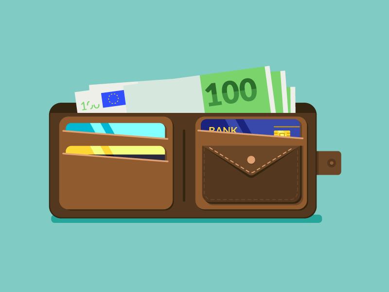 Wallet bank credit account payment shopping banknote buy saving card money flat wallet