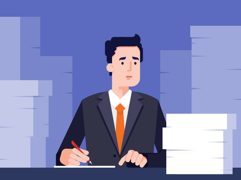 Work character design illustration flat deadline office work file man business stress