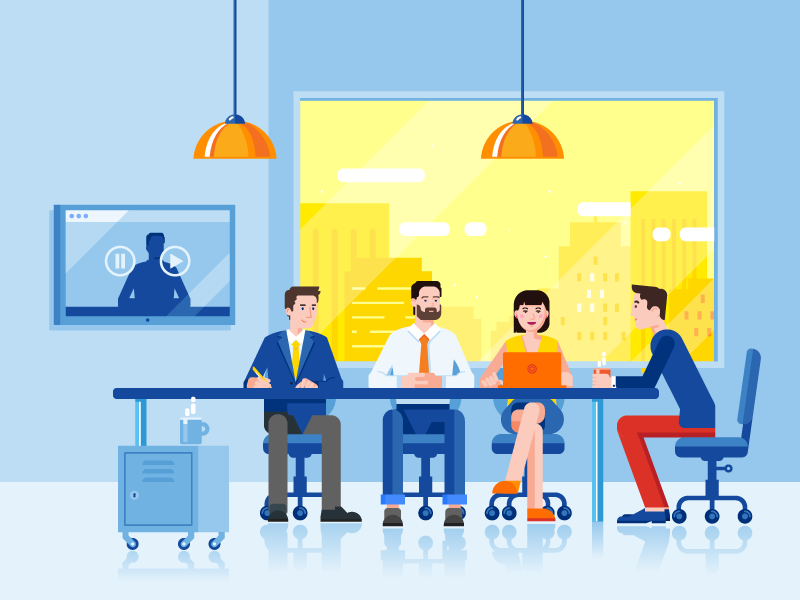 Business Meeting vector illustration team project people occupation flat teamwork meeting business office