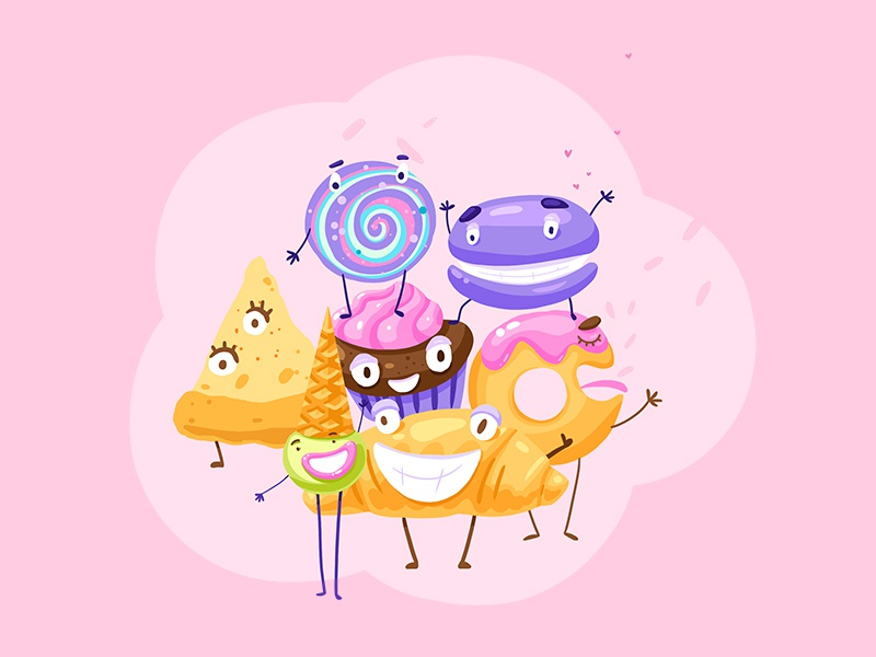 Tasty vector dessert cupcake candy croissant ice cream character design food sweets illustration