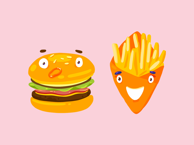 Burger and Fries friendship fries burger cute character design friends vector illustration fast food
