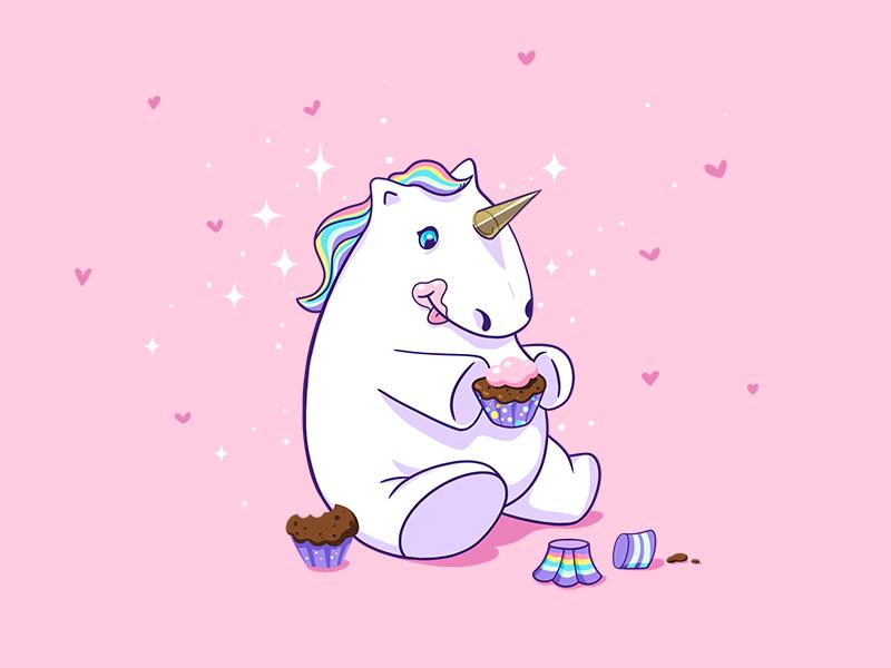 Unicorn animal horse cute vector illustration cupcakes magic fantasy unicorn character design