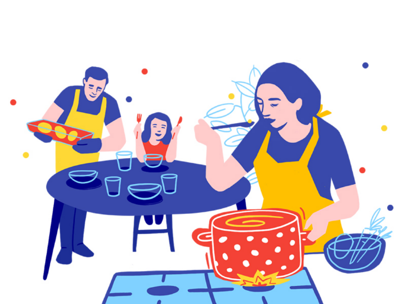 Family dinner tradition happiness colorful quality time food illustration home cooking cooking food dinner
