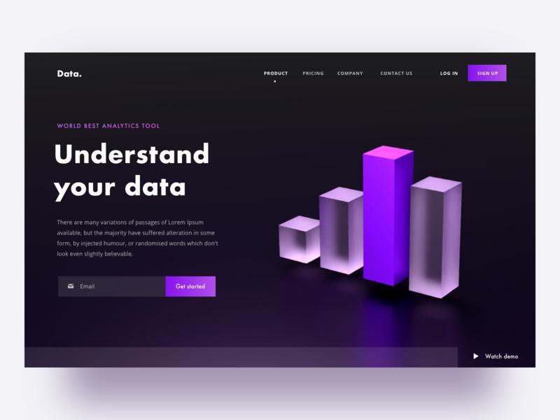 Data analytics website concept webdesign landingpage web chart analytics data landing design sketch