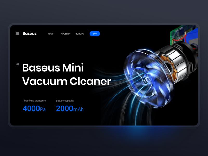 Baseus Landing Page Concept sketch design tech futuristic modern dark light blur concept website web page landing