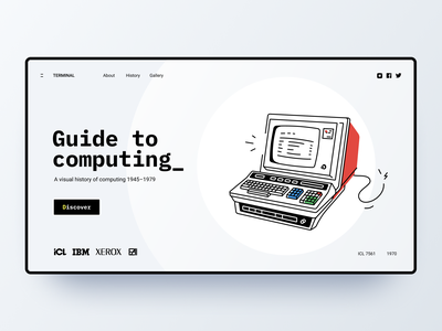 Guide to computing webdesign uiux ui retro computer concept website landing web design