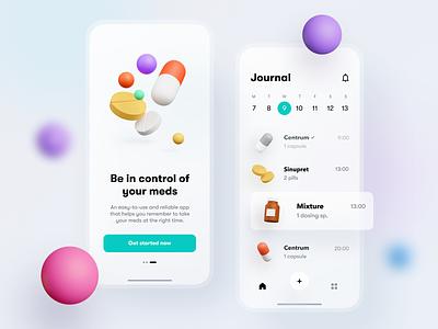 Medicines reminder calendar schedule reminder medecines pills 3d blender ux design ui mobileapp iosapp ios mobile iphone app