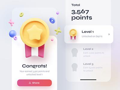 3D medal reward points achievement reward medal blender 3d illustration ux design ui mobileapp iosapp ios app mobile iphone
