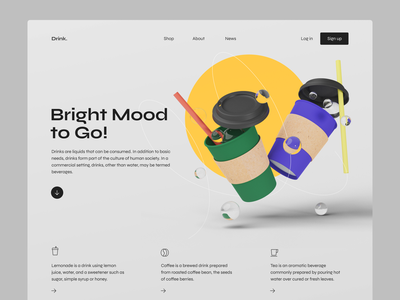 Bright Mood to Go! web page drinks blender cup coffee 3d landing website uiux ui design