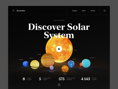 Discover solar system ui website concept planets space encyclopedia web system solar landing blender 3d website design
