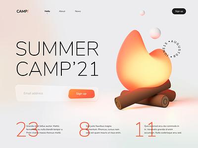 Summer Camp page landing website sign up illustration summer camp bonfire blender 3d web design ui