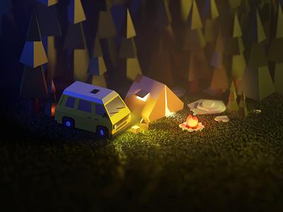Night camp 3d modeling illustration bonfire volkswagen car camp forest blender 3d