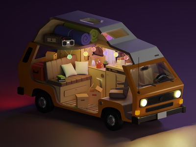 Westfalia 3d illustration illustration 3d modeling road trip camp westfalia volkswagen auto car blender 3d 3d art