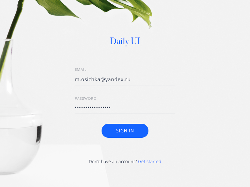 Daily UI #001 — Sign In password 001 daily ui form sign in login