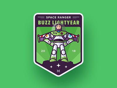 Buzz Lightyear Badge shield sticker sketch green ranger space lightyear buzz story toy badge