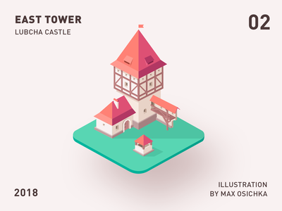 Lubcha Castle   East Tower belarus 3d 2d isometric illistration tower castle