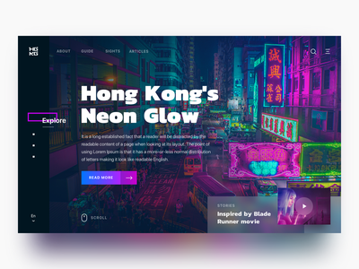 Hong Kong's Neon Glow blur lights sign hong kong blade runner glow neon landing page web