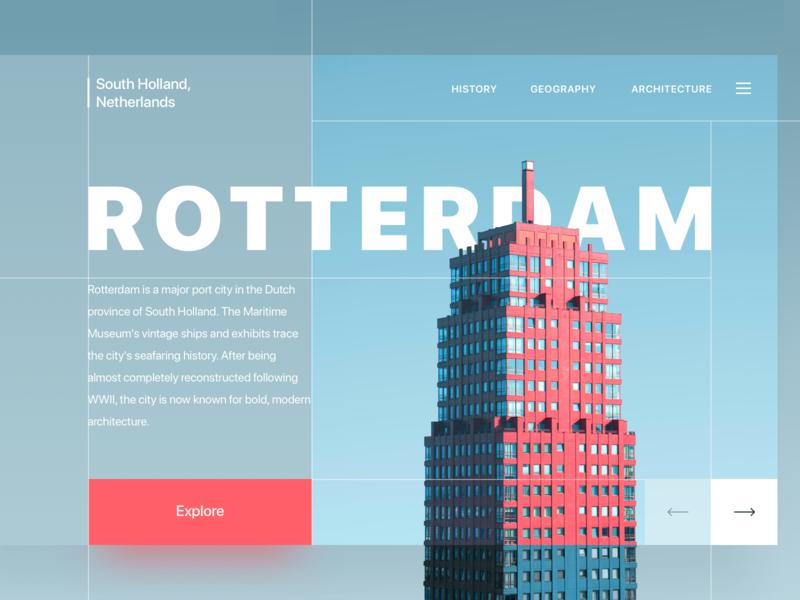 Rotterdam fluent red building grid architecture rotterdam landing page landing design web