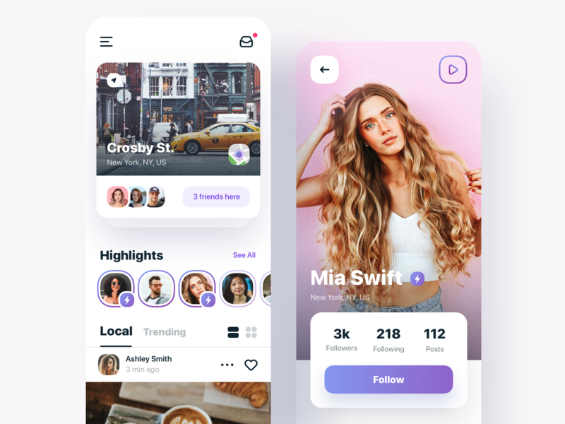 Social App uxui feed friends profile social network social app ux design ui sketch mobileapp iosapp ios mobile iphone app