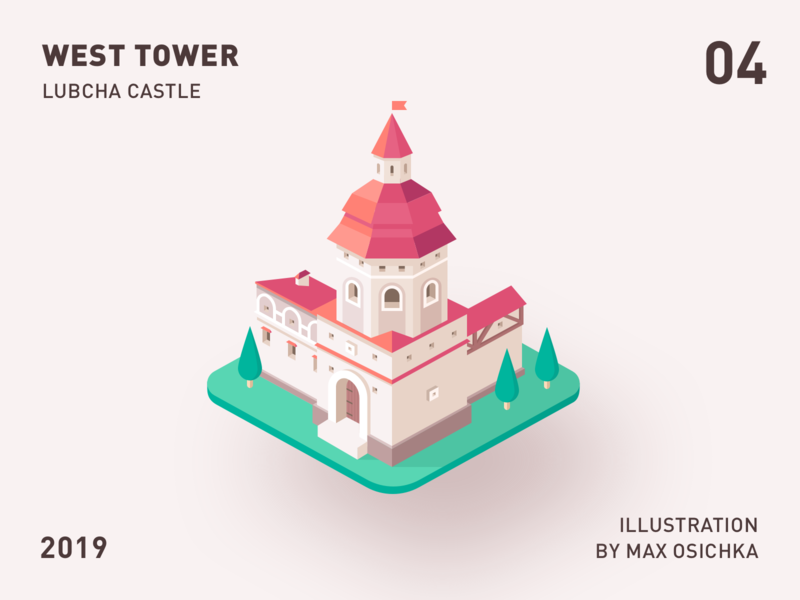 Lubcha Castle | West Tower design defence belarus tower castle 3d isometric illustraion