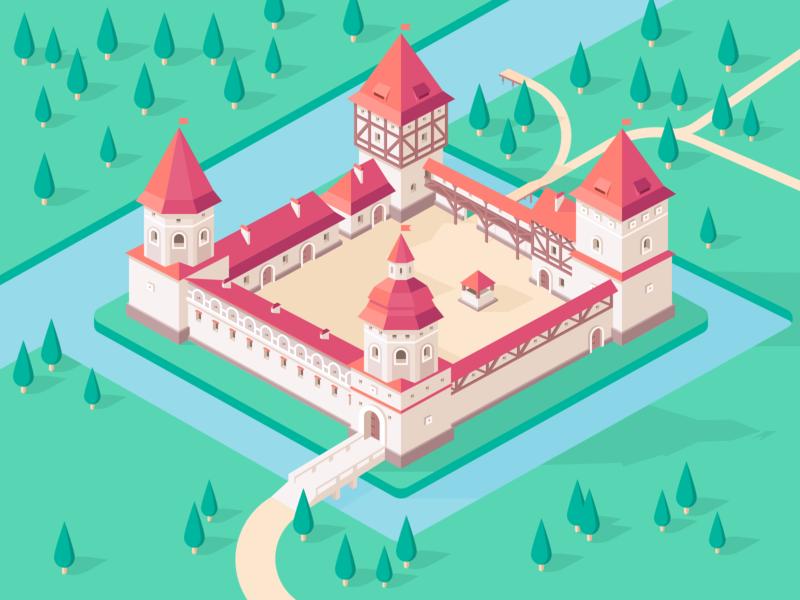 Lubcha Castle belarus tower castle 3d isometric vector design illustration