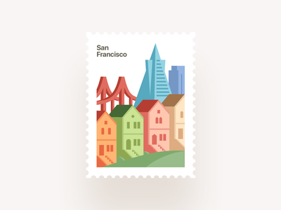 From SF with Love house town san francisco hill skyscraper bridge architecture builings city 2d 3d stamp illustration