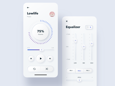 Skeuomorphic Music Player switcher controls settings volume player music equalizer skeuomorph ux illustration ui sketch mobileapp iosapp ios mobile iphone app