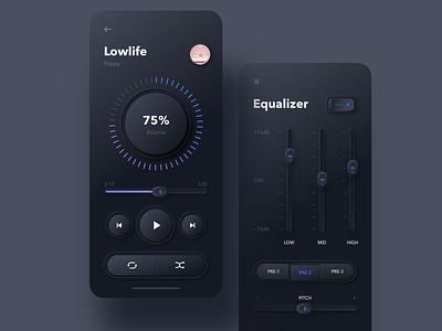 Skeuomorphic Music Player Dark Theme settings equalizer eq player music sketch design ux ui mobileapp iosapp ios mobile iphone app