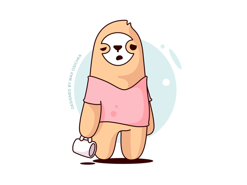 Sloth wanna some coffee sticker sleepy cup mug sketch outline coffee sloth sticker vector design illustration