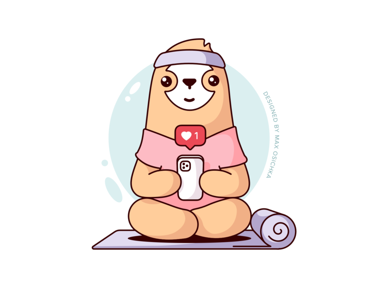Sloth Doing Yoga Sticker phone likes sport yoga sloth charachter vector design illustration