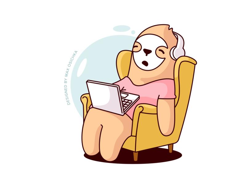 Sleeping Sloth Sticker character design sketch chair headphones laptop work sleep sloth character vector design illustration