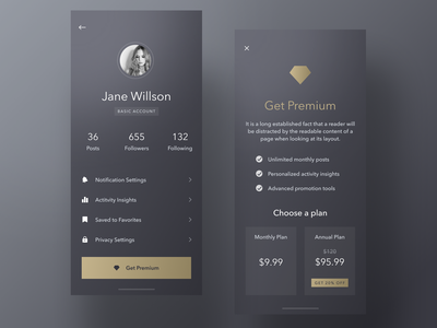 Get Premium premium design plan diamond upsell profile premium design ux ui sketch mobileapp iosapp ios mobile iphone app
