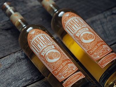 Tipplers Orange Liqueur  liquor design label etching wood cut spirits orange orange liqueur tipplers
