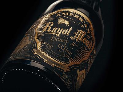 Royal Mead Label Design  embossing photography copper foil gold foil label design honey wine honey mead