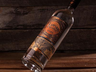 Banyan Reserve Vodka etching woodcut banyan tree label design label packaging embossing gold foil copper foil liqour label liqour