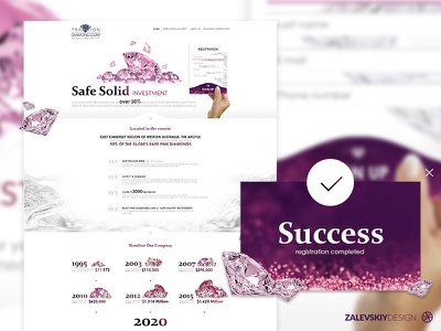 Redesign landing page for mining pink diamonds pink zalevskiy design web design landing page dribbble diamond