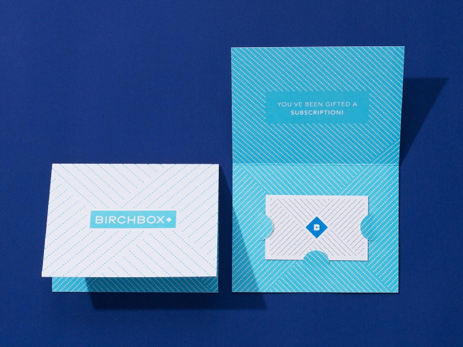 Birchbox holiday gift card print design gift card illustration packaging birchbox typography pattern design branding