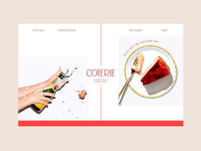 Coterie Homepage Concept champagne plate party type website animation web ui ux vector art direction icon lettering typography logo illustration design branding