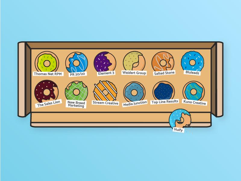 Marketer's Dozen - The Top 13 Inbound HubSpot Partner Agencies  graphics icons donuts inbound