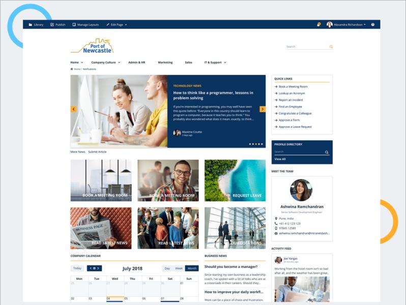 Intranet Dashboard branding web interaction uiux dashboard intranet ui design ux