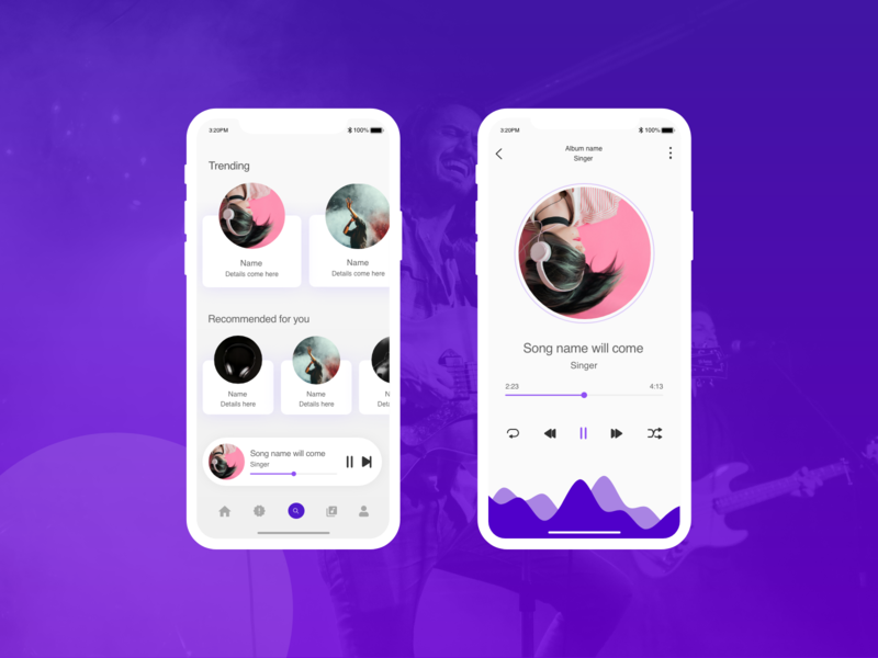 Music App andriod ios bands music app web typography ui ux design