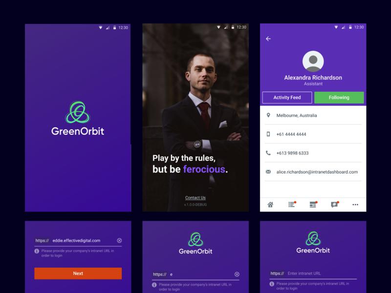 Green Orbit Mobile App (Intranet) website intranet andriod ios app web flat branding ux ui design