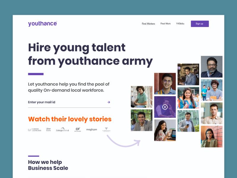 Youthance- Landing Page Design illustration minimal typography professional design journey purple youth website job listing web ux ui design
