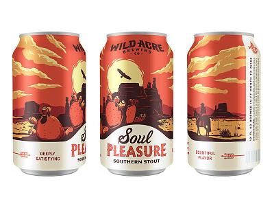 Soul Pleasure desert cactus sun fort worth austin illustration package can stout texas craft beer wild acre